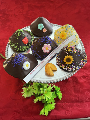 Made in NH, Delicious Large Fortune cookies!! Decorated for Mother's Day. Perfect add on treat and even comes with a fortune inside!  ***Minimum order for delivery is $65.00**** (Can be combined with flowers)