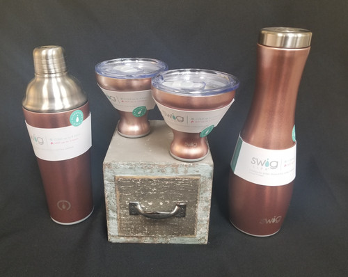 This set comes with 2 Rose Gold Martini Swig cups which keep beverages Cold up to 3 hours and HOT up to 1.5 hours!  Insulated cocktail shaker Keeps cold 9 hours and hot 3 hours and a 25oz Carafe which stays cold 24 hours and Hot 12 hours. They are dishwasher safe