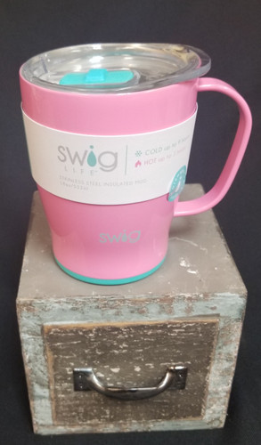 Swig 18oz coffee mugs stay HOT 3 hours and Cold 9 Hours! Fits in a car cup holder and has a tight seal at the top so no spilling!