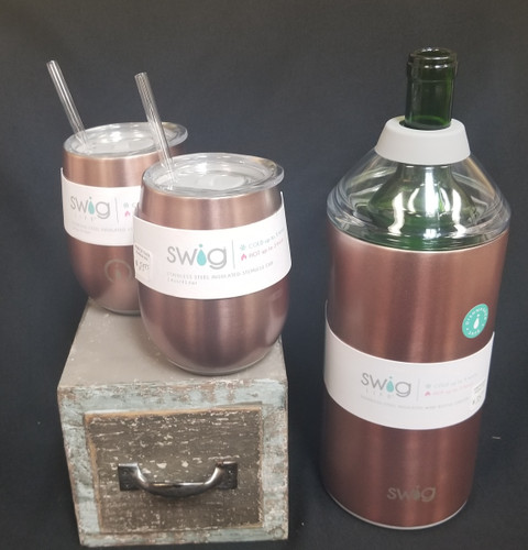 Set comes with 1 Wine bottle chiller and two  14 oz Wine cups