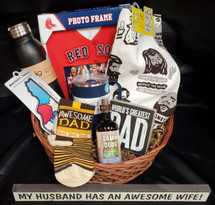Perfect for Father's day or Just any day to celebrate the special man in your life!  This basket includes Awesome DAD socks, Red socks photo frame, kitchen towel, Swig coffee mug, Swig water bottle, NH decal sticker, World's greatest dad sign & LOL skinny sign & Damn DUDE laboratory spray