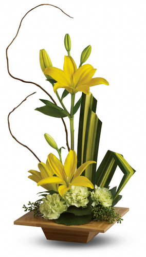 Give the gift of serenity with a graceful contemporary bouquet artistically arranged in an exotic dish made of real bamboo. A lovely surprise, no matter where or Zen.