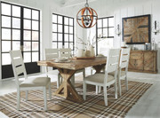Grindleburg Light Brown 8 Pc. Rectangular Table, 6 Side Chairs & Server