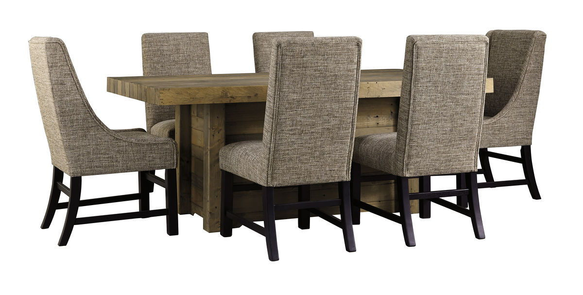 Ashley Sommerford Brown 7 Pc. Rectangular Table, 4 Upholstered Side Chairs  & 2 Upholstered Arm Chairs