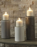 Ashley Deus Gray/White/Brown Candle Holder Set (3/CN)