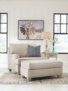 Ashley Traemore Linen Chair and a Half with Ottoman