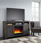 Ashley Mayflyn Charcoal LG TV Stand with Glass/Stone Fireplace Insert