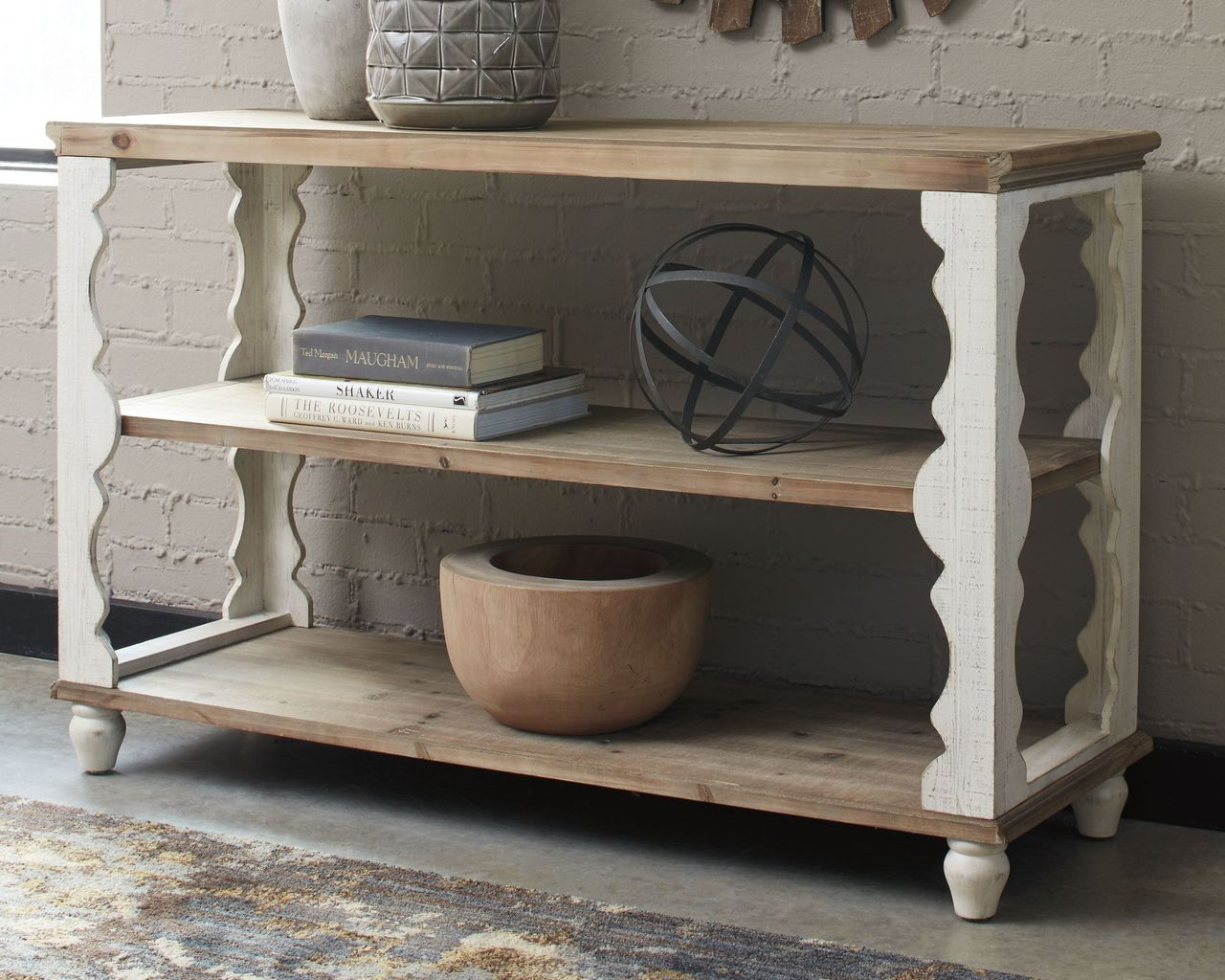 Pleasant Ashley Alwyndale Antique White Brown Console Sofa Couch Table Interior Design Ideas Inesswwsoteloinfo
