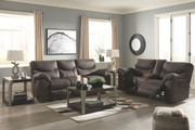 Ashley Boxberg Teak Reclining Power Sofa/Couch & Double Reclining Power Loveseat with Console