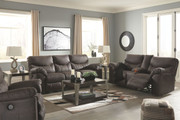 Ashley Boxberg Teak Reclining Power Sofa/Couch, Double Reclining Power Loveseat with Console & Power Rocker Recliner