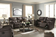 Ashley Boxberg Teak Reclining Sofa/Couch, Double Reclining Loveseat with Console & Rocker Recliner