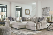 Ashley Dellara Chalk LAF Loveseat, Wedge, Armless Loveseat, RAF Corner Chaise Sectional & Ottoman With Storage