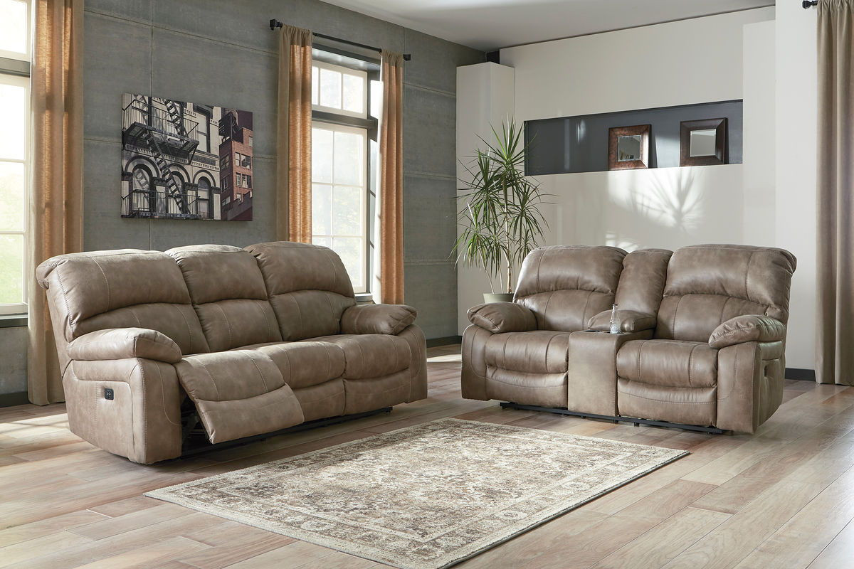 Peachy Ashley Dunwell Driftwood Power Reclining Sofa Couch With Adjustable Headrest Power Reclining Loveseat With Con Adjustable Headrest Gmtry Best Dining Table And Chair Ideas Images Gmtryco