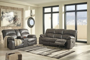 Ashley Dunwell Steel Power Reclining Sofa/Couch with Adjustable Headrest & Power Reclining Loveseat with CON/Adjustable Headrest