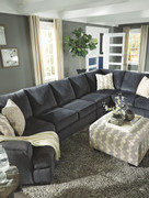 Ashley Eltmann Slate LAF Cuddler, Armless Loveseat, Armless Chair, RAF Sofa/Couch with Corner Wedge Sectional & Accent Ottoman