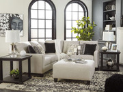 Ashley Hallenberg Fog LAF Sofa/Couch with Corner Wedge, RAF Loveseat Sectional & Accent Ottoman