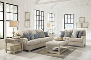 Traemore Linen Sofa, Loveseat, Shawnalore Ottoman Cocktail Table & 2 End Tables