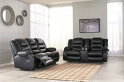 Ashley Vacherie Black Reclining Sofa/Couch & DBL Reclining Loveseat with Console