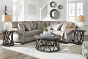 Ashley Olsberg Steel LAF Loveseat & RAF Sofa/Couch with Corner Wedge Sectional