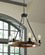Ashley Plato Brown/Black Wood Pendant Light (1/CN)