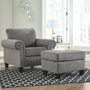 Ashley Agleno Charcoal Chair with Ottoman
