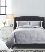 Ashley Maryam Gray Queen Coverlet Set