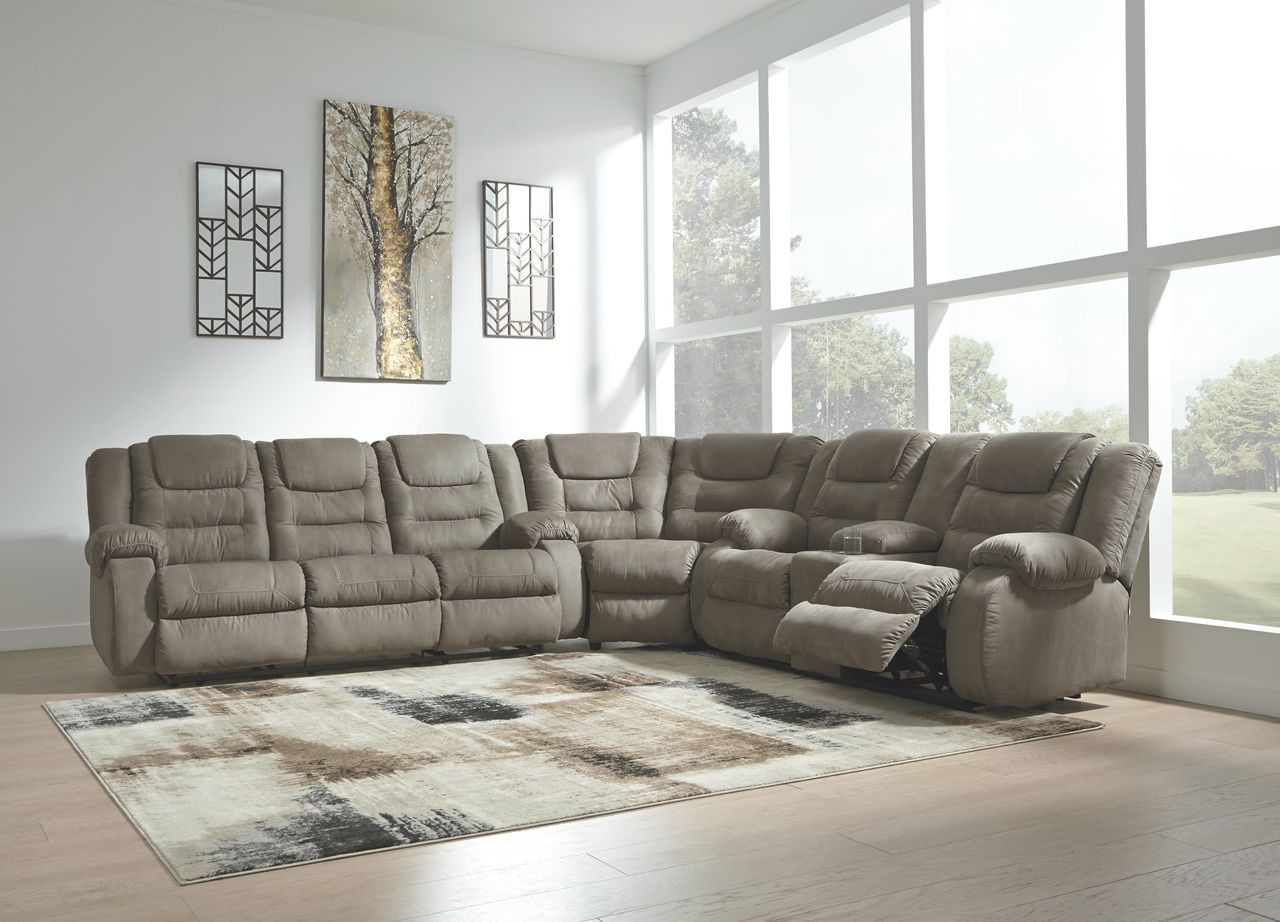 Outstanding Ashley Segburg Cobblestone Reclining Sofa Couch Wedge Double Reclining Loveseat With Console Sectional Bralicious Painted Fabric Chair Ideas Braliciousco