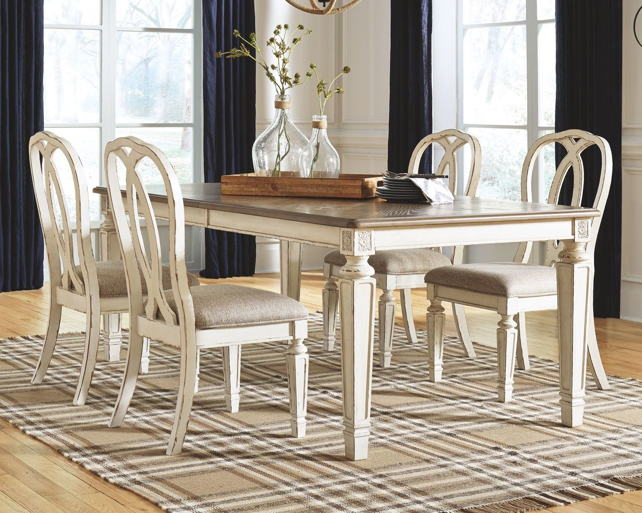 Stupendous Ashley Realyn Chipped White 5 Pc Rectangular Ext Table 4 Upholstered Side Chairs Machost Co Dining Chair Design Ideas Machostcouk