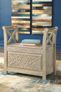 Ashley Fossil Ridge Whitewash Accent Bench