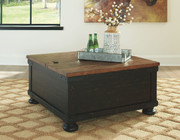 Ashley Valebeck Black/Brown Square Lift Top Cocktail Table