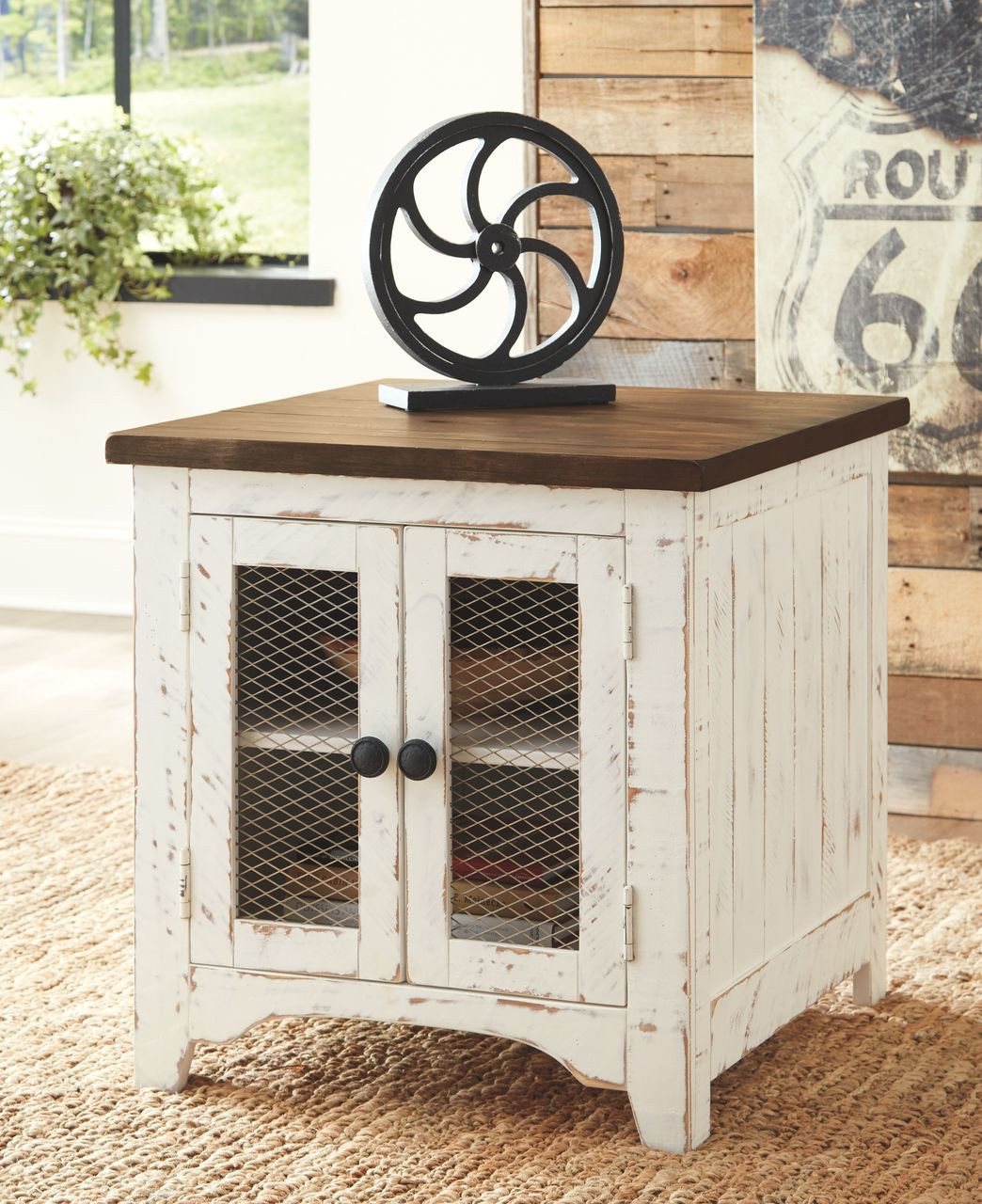 Admirable Ashley Wystfield White Brown Chair Side End Table Pabps2019 Chair Design Images Pabps2019Com