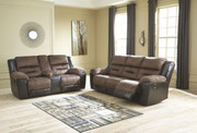 Ashley Earhart Chestnut REC Sofa & DBL REC Loveseat with Console