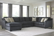 Ashley Eltmann Slate LAF Corner Chaise, Armless Chair, Armless Loveseat & RAF Sofa with Corner Wedge Sectional