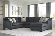 Ashley Eltmann Slate LAF Sofa with Corner Wedge, Armless Loveseat & RAF Corner Chaise Sectional