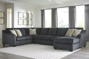 Ashley Eltmann Slate LAF Sofa with Corner Wedge, Armless Loveseat, Armless Chair & RAF Corner Chaise Sectional