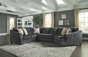 Ashley Eltmann Slate LAF Sofa with Corner Wedge, Armless Loveseat & RAF Cuddler Sectional
