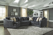 Ashley Eltmann Slate LAF Cuddler, Armless Loveseat & RAF Sofa with Corner Wedge Sectional