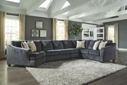 Ashley Eltmann Slate LAF Cuddler, Armless Chair, Armless Loveseat & RAF Sofa with Corner Wedge Sectional