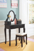Ashley Huey Vineyard Black Vanity/Mirror/Stool (3/CN)