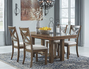 Ashley Moriville Grayish Brown 5 Pc. Rectangular Extension Table & 4 Upholstered Side Chairs