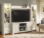 Ashley Bellaby Whitewash Entertainment Center LG TV Stand, 2 Piers & Bridge