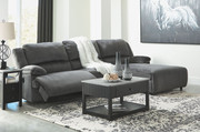 Ashley Clonmel Charcoal LAF Zero Wall Power Recliner, Armless Chair & RAF Press Back Power Chaise Sectional