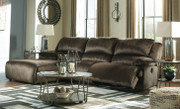 Ashley Clonmel Chocolate LAF Press Back Chaise, Armless Chair & RAF Zero Wall Recliner Sectional