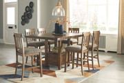 Ashley Flaybern Counter Dining Room 7 Pc. Set: Rectangular Counter Table with Leaf and 6 Upholstered Side Chairs