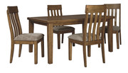 Ashley Flaybern Dining Room 5 Pc. Set: Rectangular Butterfly Table with 4 Upholstered Side Chairs