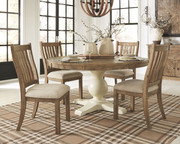 Ashley Grindleburg Light Brown 7 Pc. Round Table Top, 4 Upholstered Side Chairs & Server