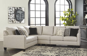 Ashley Hallenberg Fog RAF Loveseat, Armless Chair & LAF Sofa/Couch with Corner Wedge Sectional