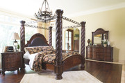Ashley North Shore Dark Brown 7 Pc. Dresser, Mirror & California King Poster Bed with Canopy