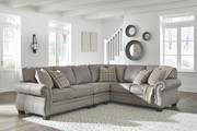 Ashley Olsberg Steel RAF Sofa/Couch with Corner Wedge, LAF Loveseat & Armless Chair Sectional