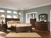 Ashley Porter Rustic Brown 8 Pc. Dresser, Mirror, Chest, California King Sleigh Bed & 2 Nightstands